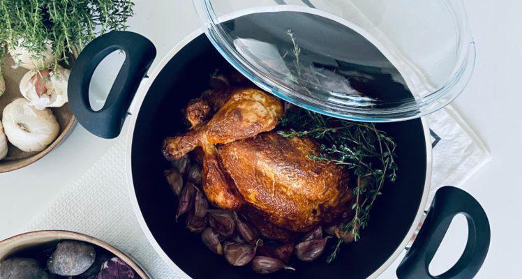 Kip met knoflook in de Sysas kookpan